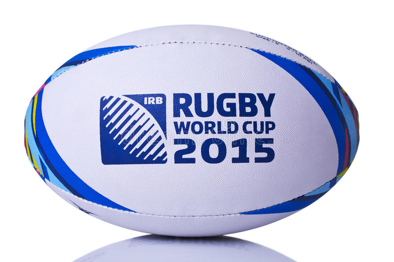 Rugby ball world cup for 2015 front on stock photos