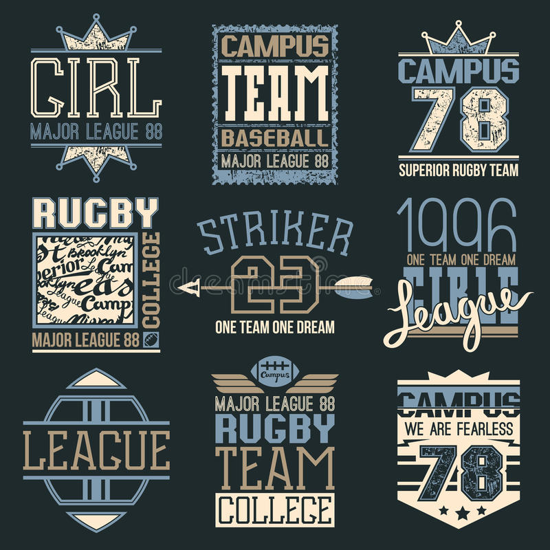 Rugby and baseball team college emblems. In retro style. Trendy graphic design for t-shirt. Color print on a dark background vector illustration