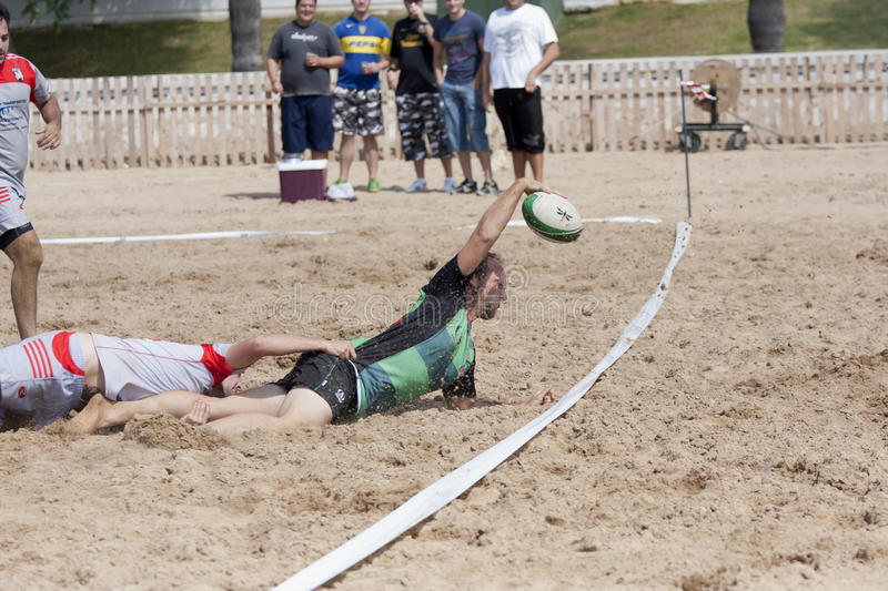 Rugby beach. Annotation in a game of beach rugby royalty free stock image