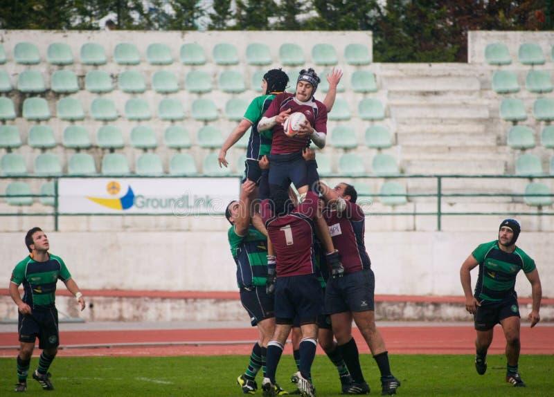 Rugby Clube de Caldas CONTRE le rugby de Evora de Clube image stock