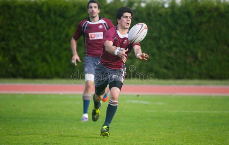 Rugby Clube de Caldas CONTRE le rugby de Evora de Clube photographie stock
