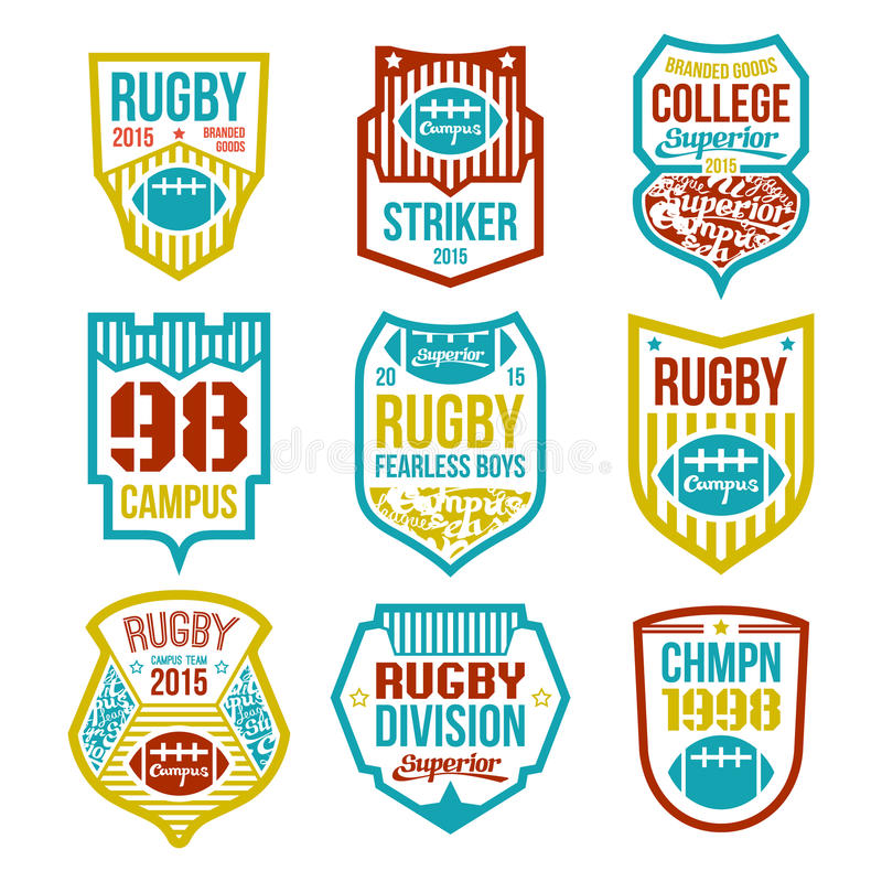 Rugby college team emblems. In flat style. Color print stock illustration