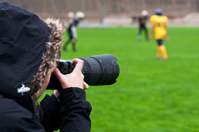 Rugby della fucilazione del fotografo fotografie stock libere da diritti