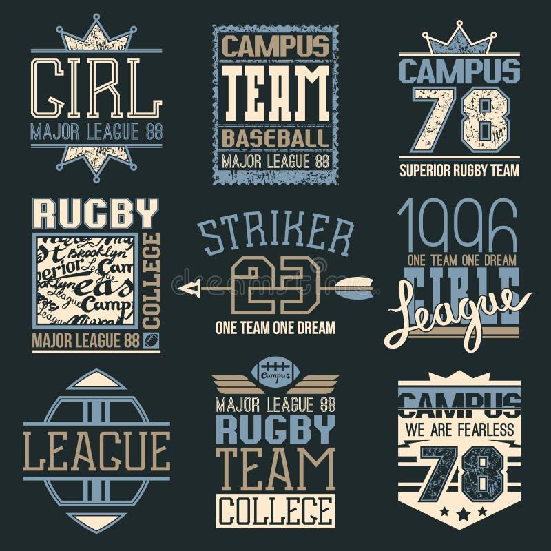 Rugby e emblemas da faculdade da equipa de beisebol ilustração do vetor