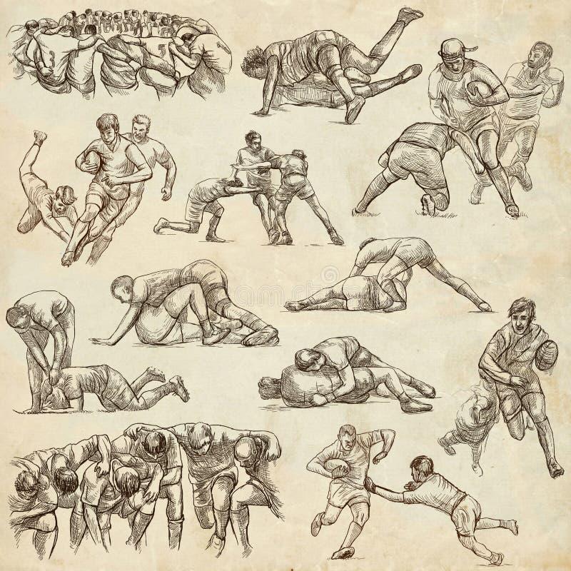 RUGBY - Eine Hand gezeichnete freihändige Sammlung Linie Kunstsatz von einigem stock abbildung