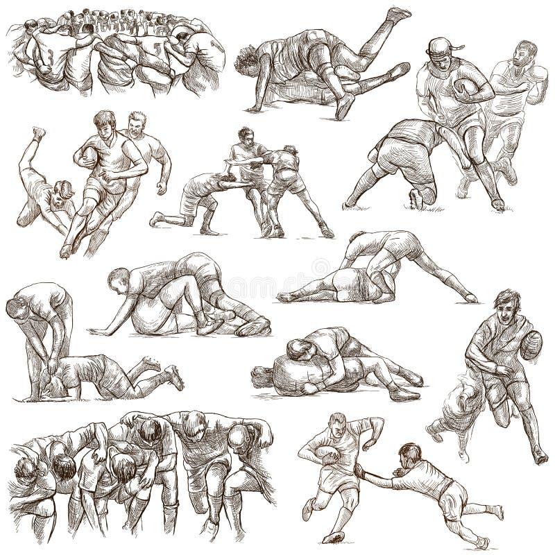 RUGBY - Eine Hand gezeichnete freihändige Sammlung Linie Kunstsatz von einigem lizenzfreie abbildung