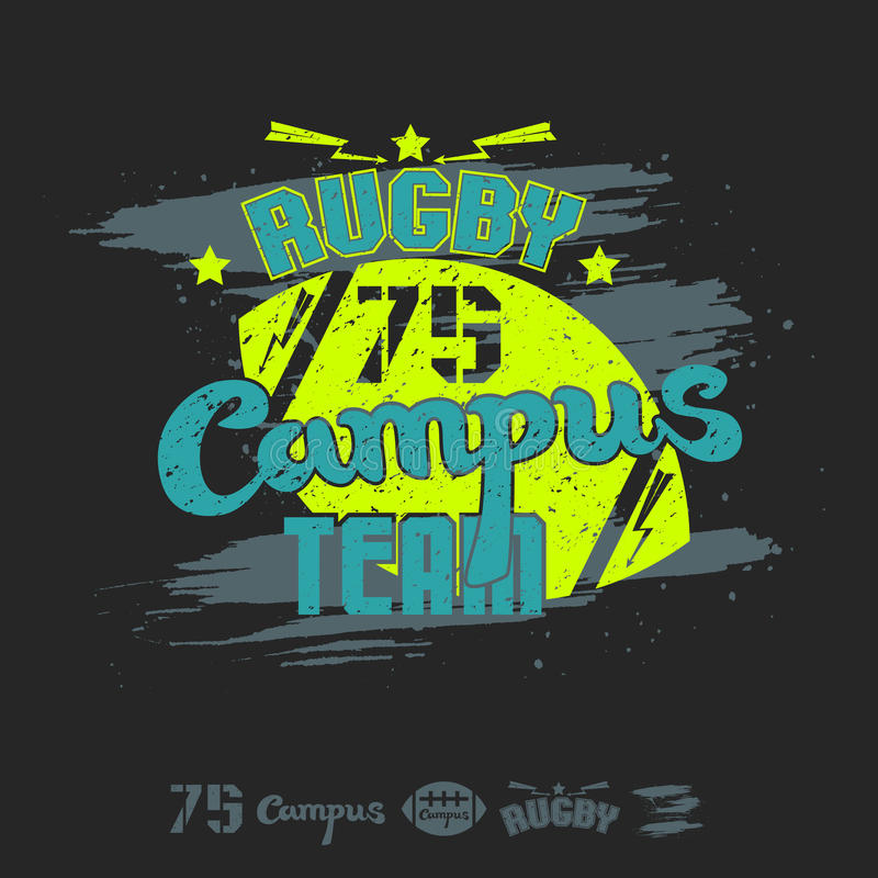 Rugby emblem campus team. And design elements. Graphic design for t-shirt on black background stock illustration