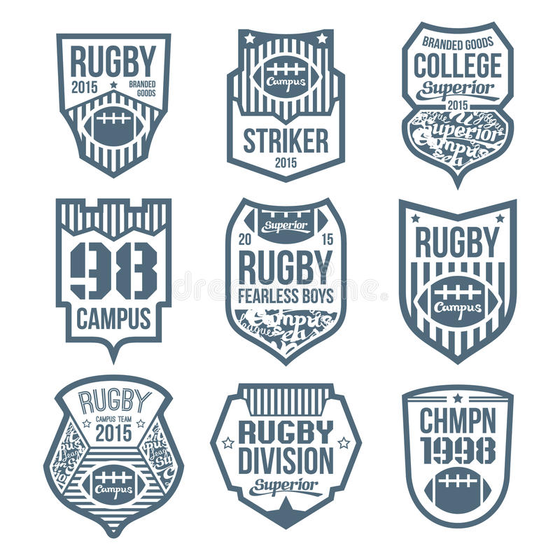 Rugby emblems. In flat style royalty free illustration