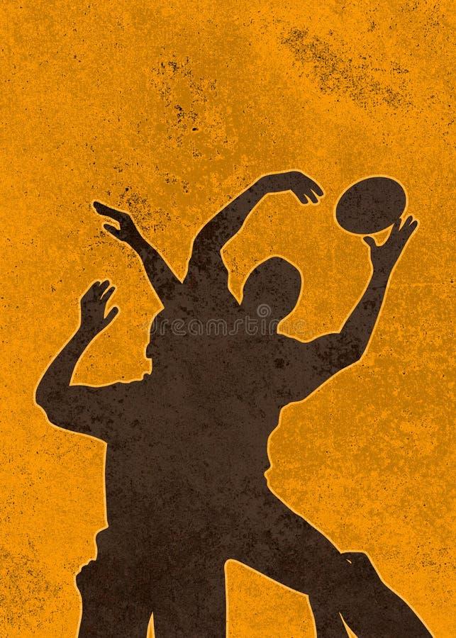 rugby för spelare för bollbanhoppninglineout vektor illustrationer