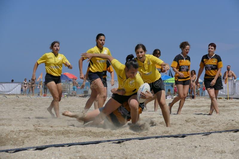 Rugby femminile della spiaggia di LIBR - Senigallia 2017 fotografia stock