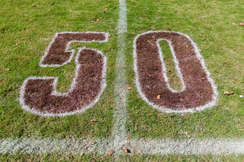 Rugby Field Fifty Meter Markings stock photos