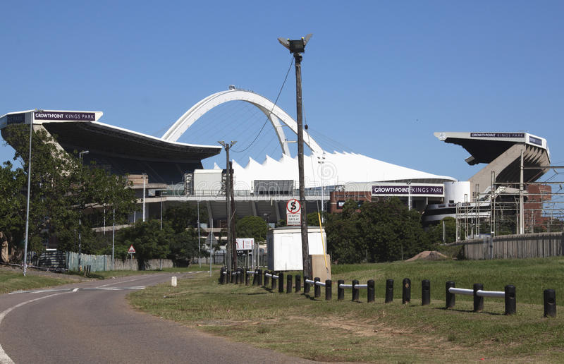 Rugby and Football Stadiums in Durban South Africa. DURBAN, SOUTH AFRICA - MARCH 28, 2014: Growthpoint Kings park Rugby stadium in front of the Moses Mahbida royalty free stock photos