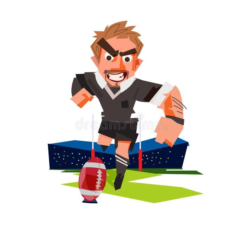 Rugby gracz kopie rugby piłkę - ilustracja ilustracja wektor