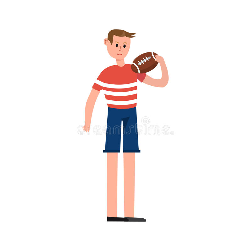 Rugby gracz trzyma balowego postać z kreskówki wektor Ilustracyjny ilustracja wektor