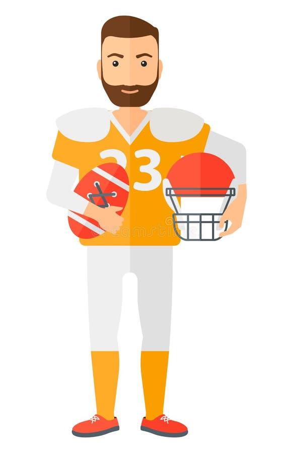 Rugby gracz z piłką i hełm w rękach ilustracji