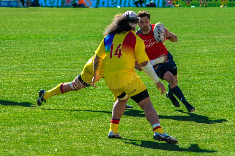 Rugby gracza bieg podczas Rumunia dopasowania fotografia royalty free