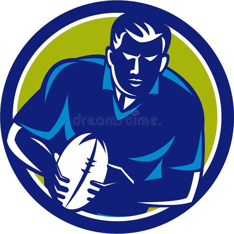 Rugby gracza Działający Przelotny Balowy okrąg Retro ilustracja wektor