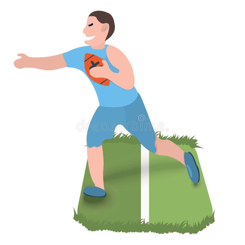 Rugby gracza ikona Sport etykietka na białym tle Charakter kresk?wki styl r?wnie? zwr?ci? corel ilustracji wektora ilustracji