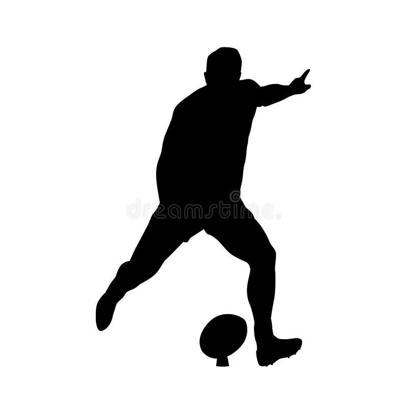 Rugby gracza kopania piłka, wektorowa sylwetka royalty ilustracja