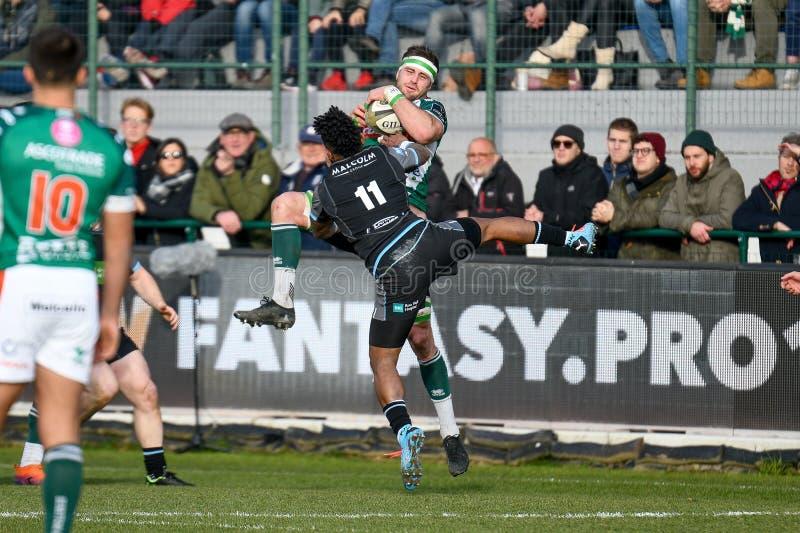 Rugby Guinness Pro 14 Benetton Treviso vs Glasgow Warriors. Abraham steyn (treviso) hampered by  niko matawalu (glasgow) during Benetton Treviso vs Glasgow stock photography