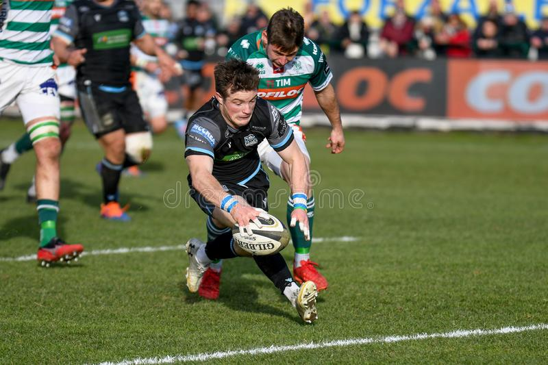 Rugby Guinness Pro 14 Benetton Treviso vs Glasgow Warriors. Try of george horne (glasgow) during Benetton Treviso vs Glasgow Warriors, Rugby Guinness Pro 14 in royalty free stock photos