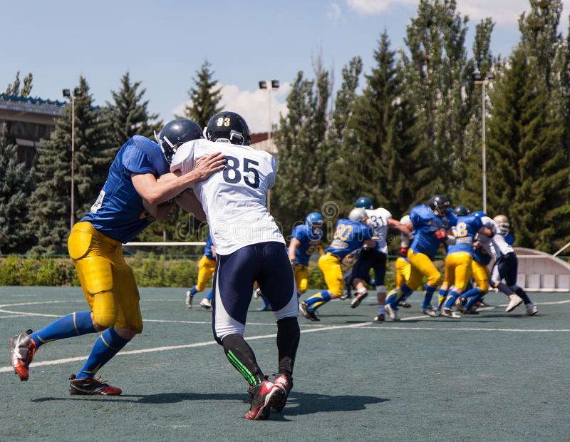 Rugby 7 july Ukraine. American football match between the teams of Ukrainian Atlanta against the Scythians royalty free stock image