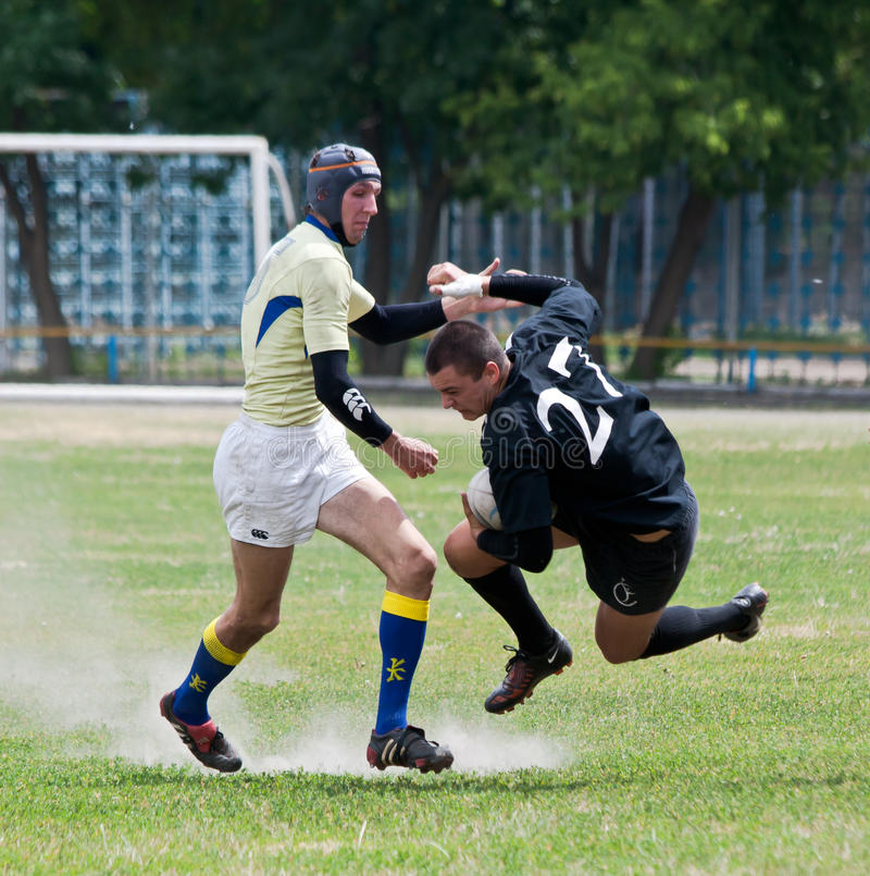 Rugby League match. ANTARES – ARGO, UKRAINE, KIEV – JUNE 12 : Rugby players in action at a Ukrainian National Championship rugby match, Antares(in royalty free stock images