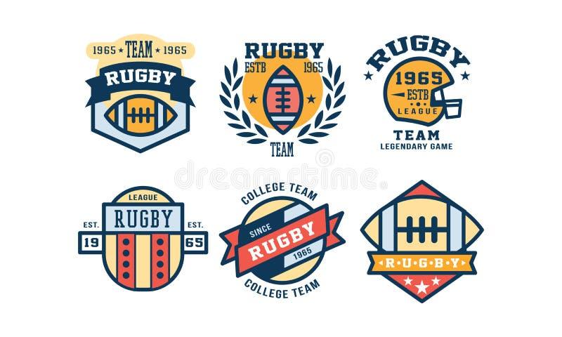 Rugby logo projekta ligowy set, rocznik szkoły wyższej drużyna, sporta klubu emblemat lub odznaka wektoru ilustracja, royalty ilustracja