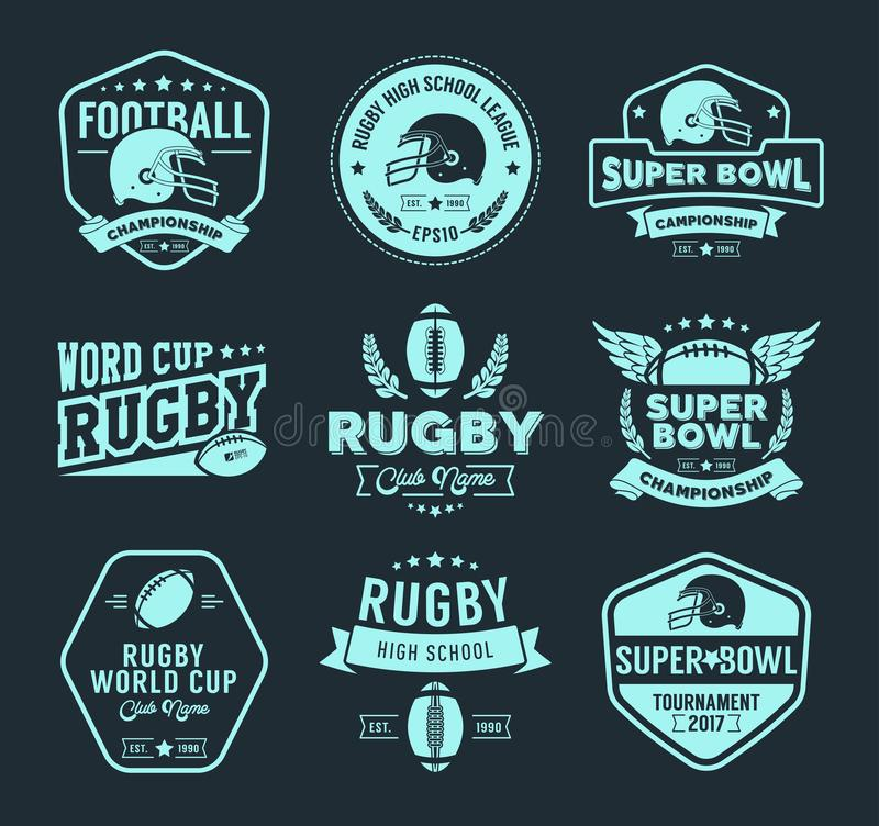 Rugby logo vector colorful set, Football badge logo template stock illustration