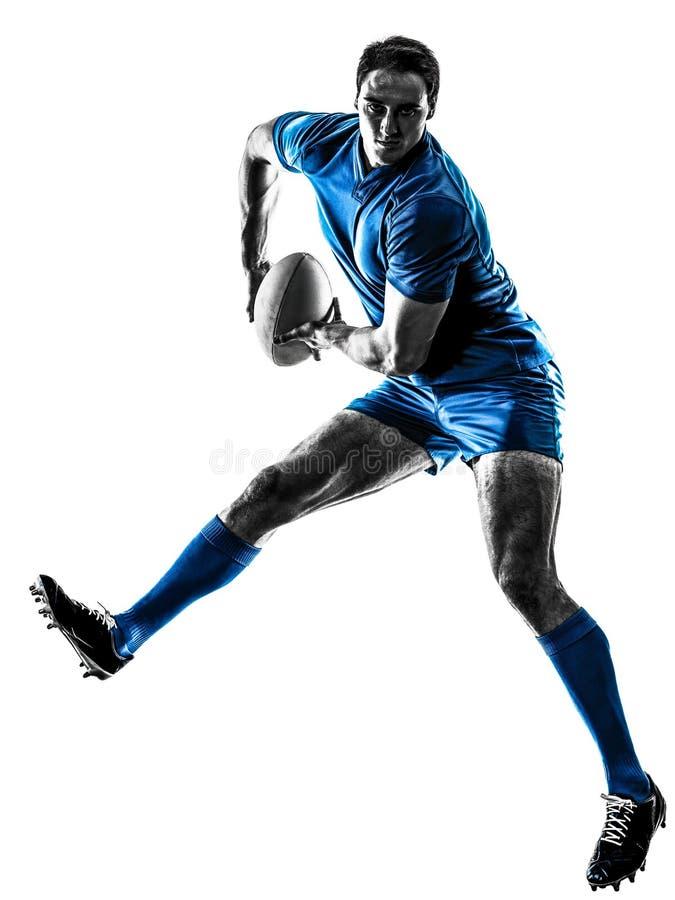 Rugby mężczyzna gracza sylwetka odizolowywająca zdjęcie royalty free