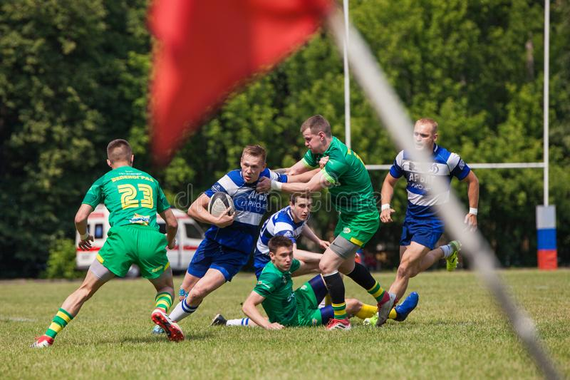 Rugby match Dynamo - Zelenograd. MOSCOW, RUSSIAN FEDERATION - JUNE 08, 2019:  Rugby. Championship FRL.  Sport competitions. Rugby match Dynamo - Zelenograd stock image