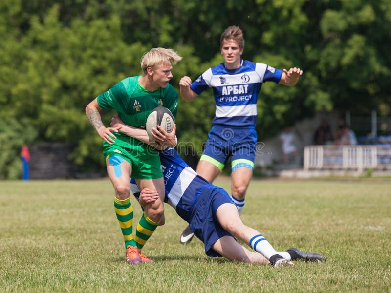 Rugby match Dynamo - Zelenograd. MOSCOW, RUSSIAN FEDERATION - JUNE 08, 2019:  Rugby. Championship FRL.  Sport competitions. Rugby match Dynamo - Zelenograd stock photos