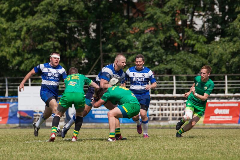 Rugby match Dynamo - Zelenograd. MOSCOW, RUSSIAN FEDERATION - JUNE 08, 2019:  Rugby. Championship FRL.  Sport competitions. Rugby match Dynamo - Zelenograd royalty free stock images