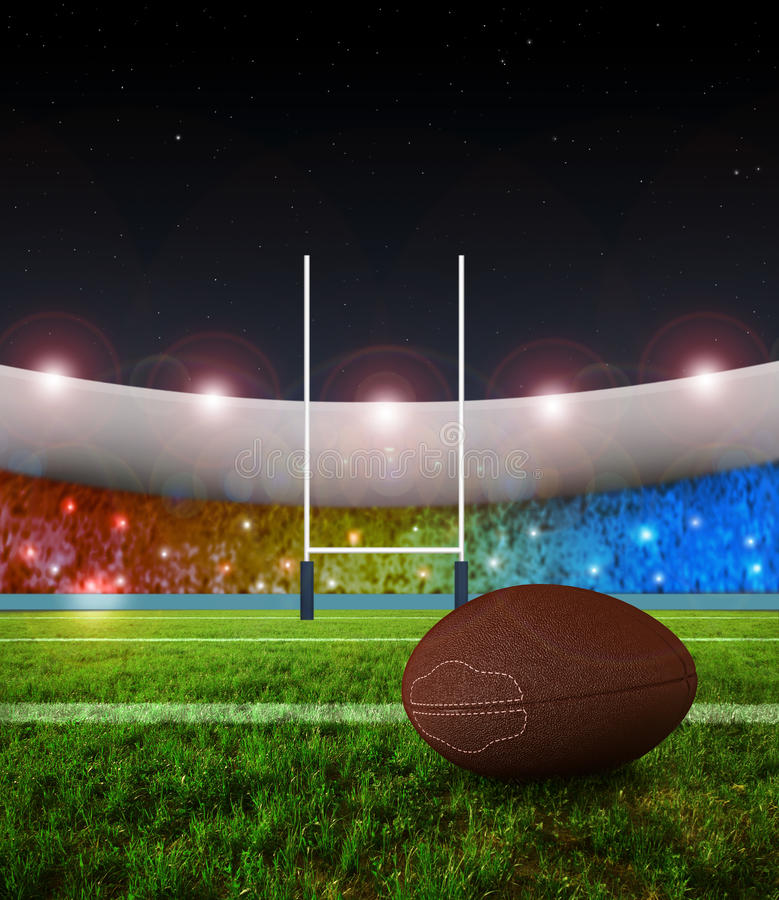 Rugby penalty kick - Night vector illustration