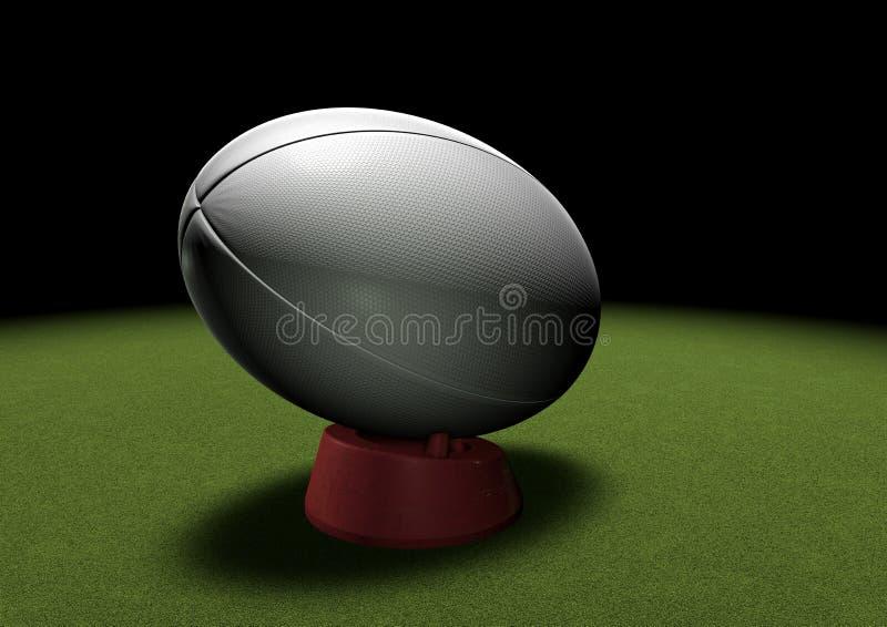Rugby piłka na kopanie trójniku pod światłem reflektorów ilustracji
