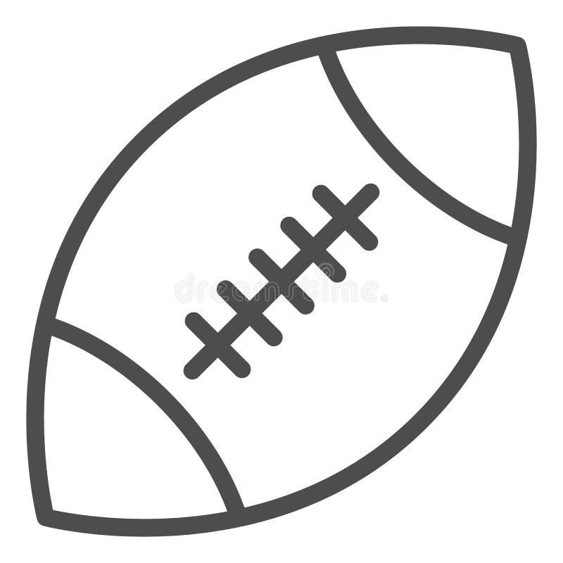 Rugby pi?ki linii ikona Futbol ameryka?ski balowa wektorowa ilustracja odizolowywaj?ca na bielu Sporta wyposa?enia konturu stylu  royalty ilustracja