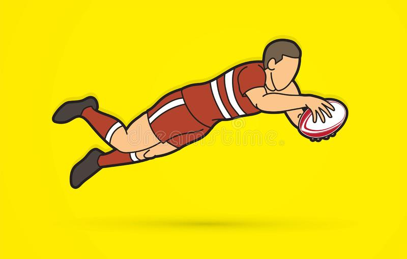Rugby player action, cartoon sport graphic royalty free illustration