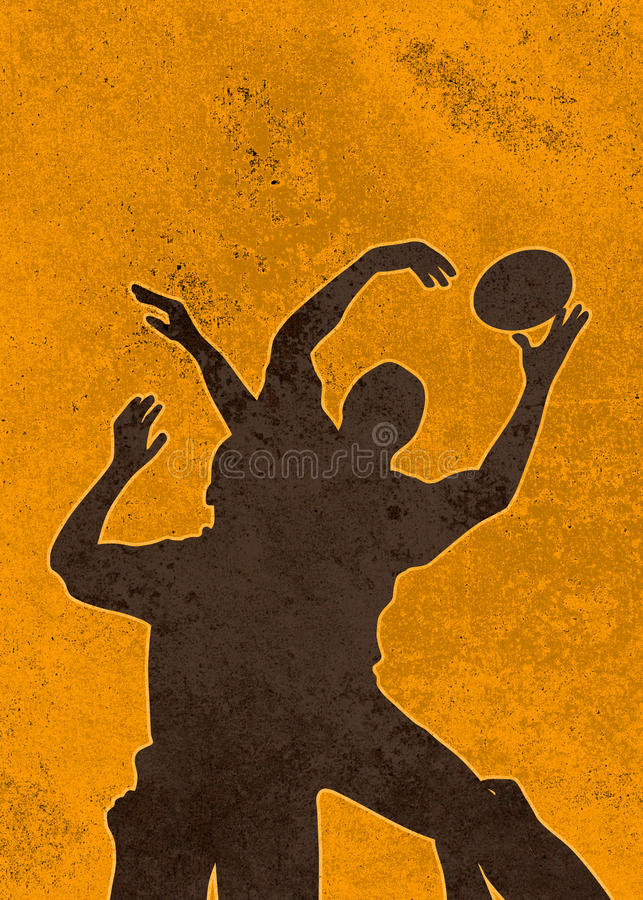 Rugby player jumping ball lineout vector illustration