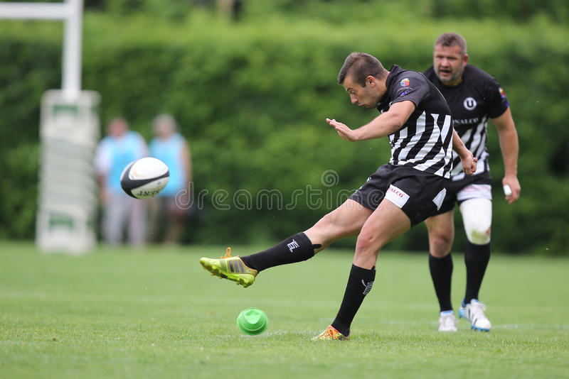 Rugby player kicking the ball royalty free stock image