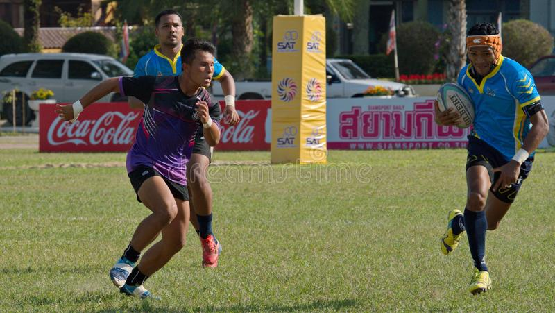 Rugby player making a service at Thailand National Games, 2018 Chiang Rai Games. Chiang Rai, Thailand – November 20, 2018 : Rugby player in action during stock photography