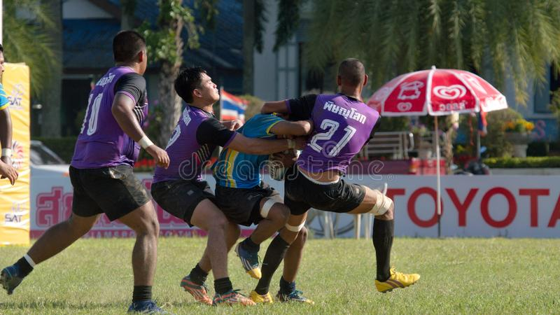 Rugby player making a service at Thailand National Games, 2018 Chiang Rai Games. Chiang Rai, Thailand – November 20, 2018 : Rugby player in action during stock image