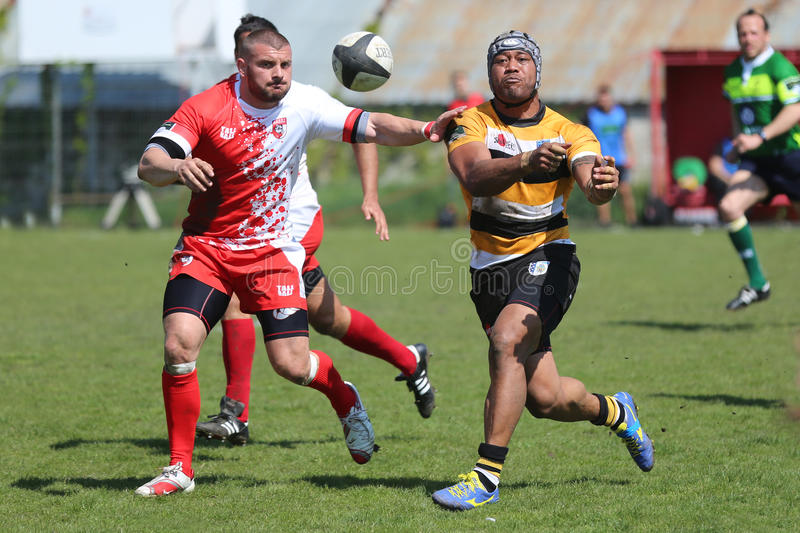 Rugby player passing the ball royalty free stock photo