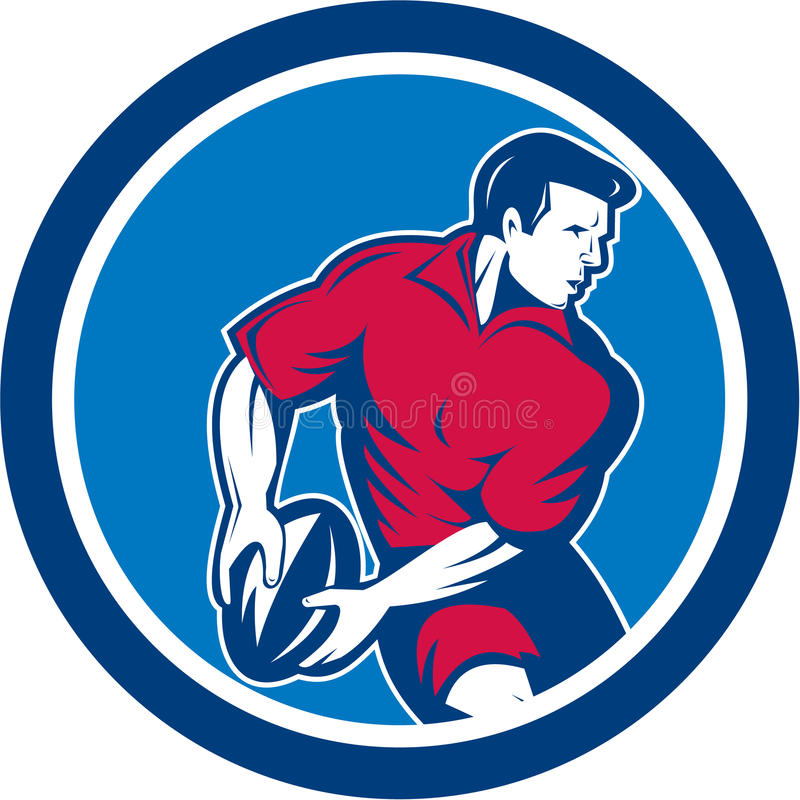 Rugby Player Passing Ball Circle Retro vector illustration
