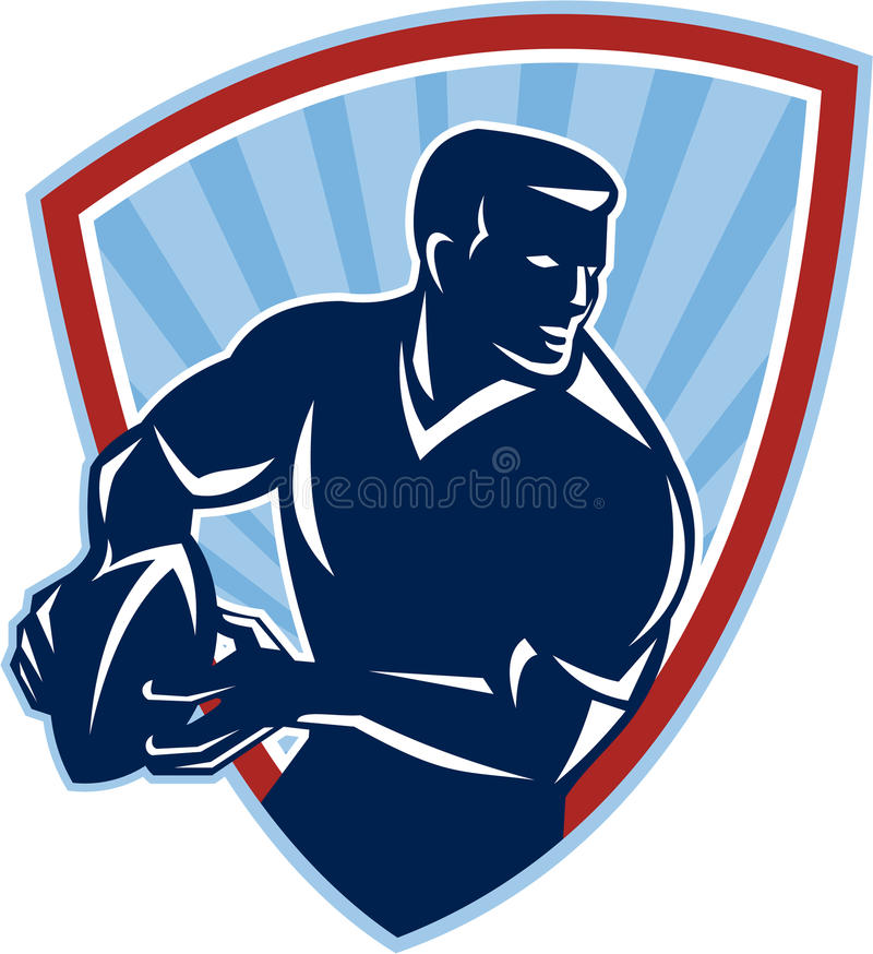 Rugby Player Passing Ball Shield Retro vector illustration