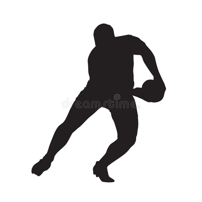 Rugby player passing ball, vector silhouette. Rugby player passing ball, vector isolated silhouette stock illustration