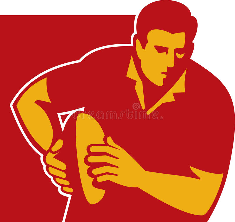 Rugby player running with the ball. Illustration of a rugby player running with the ball front stock illustration