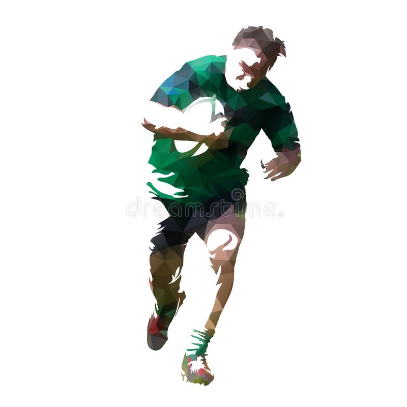 Rugby player running with ball, geometric. Rugby player running with ball, abstract geometric illustration, front view. team sport royalty free illustration