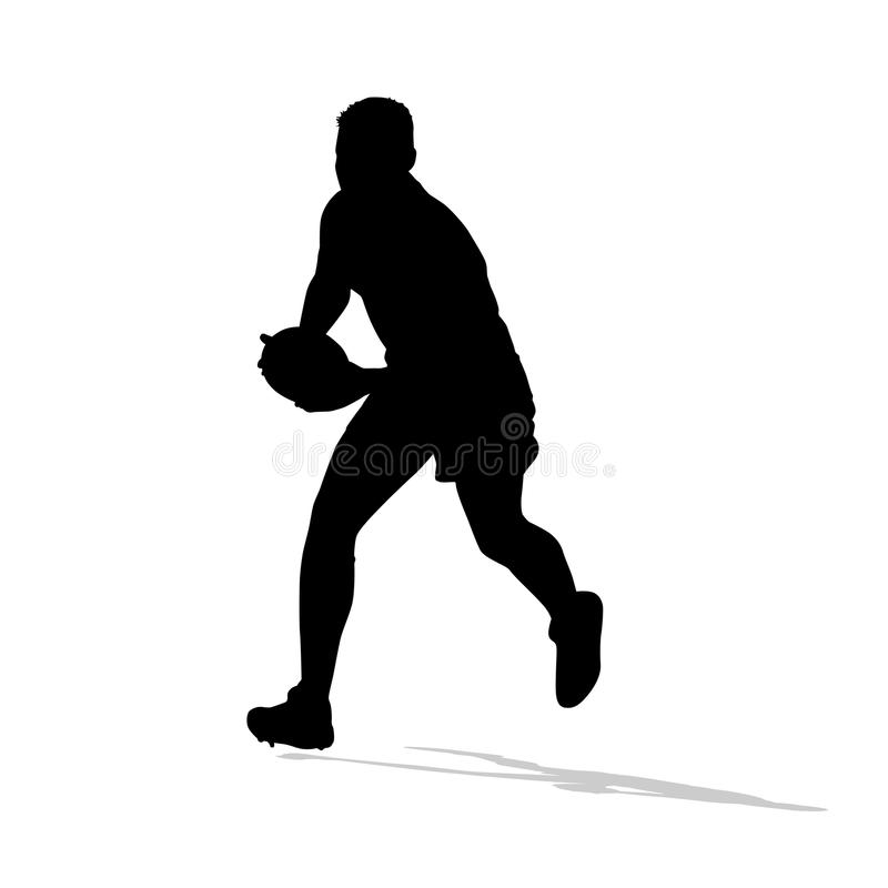 Rugby player running with ball in hands. Vector silhouette stock illustration