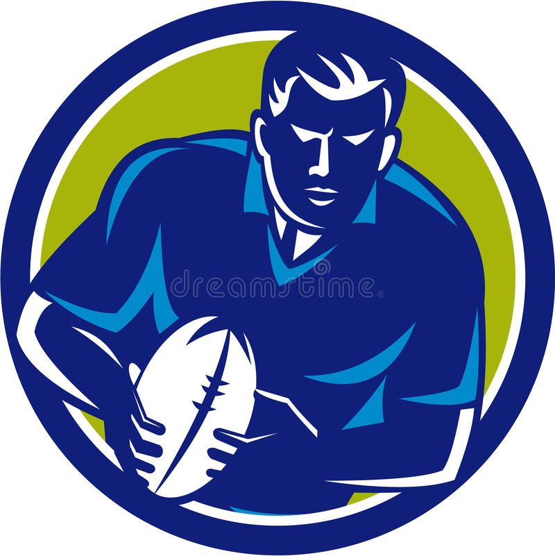 Rugby Player Running Passing Ball Circle Retro vector illustration