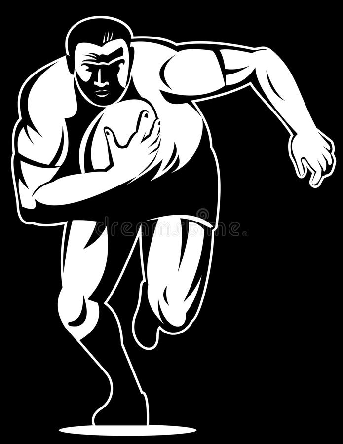Rugby player running for try. Vector illustration of Rugby player running to score a try stock illustration